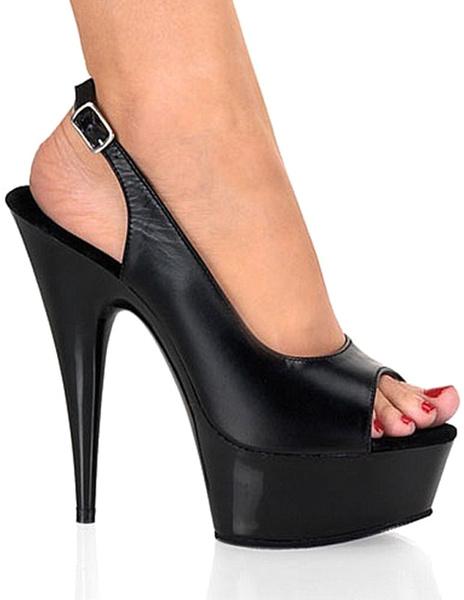 Milanoo Sandalias Peep Toe de color negro de tacon alto de estilo sexy
