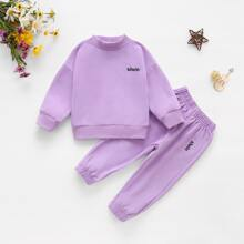 Toddler Girls Drop Shoulder Letter Embroidery Sweatshirt & Sweatpants