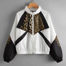 Windjacke mit Leopard Muster und Raglanaermeln