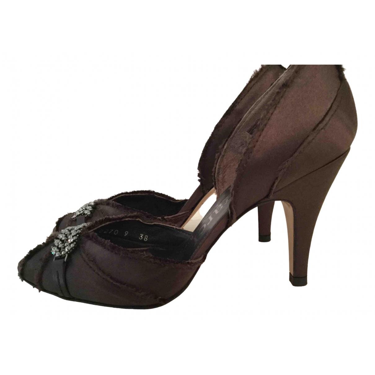 Pedro Garcia N Brown Cloth Heels for Women 38 EU