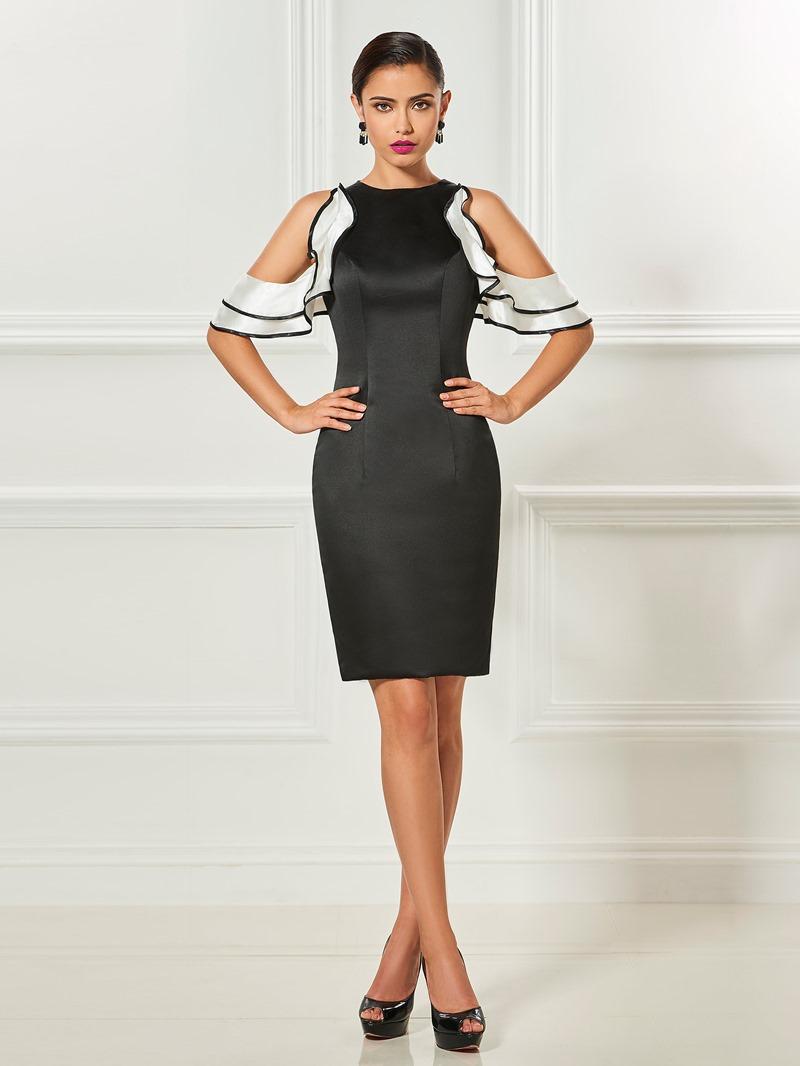 Ericdress Sheath Jewel Neck Satin Knee Length Cocktail Dress