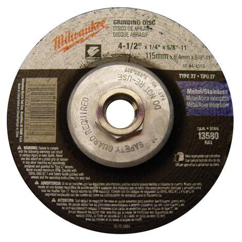 Milwaukee 4-1/2 in. x 1/4 in. x 5/8-11 in. Grinding Wheel (Type 27)