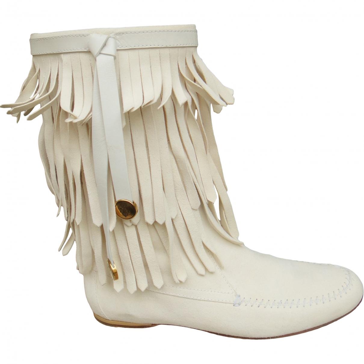 Gucci - Boots   pour femme en suede - blanc