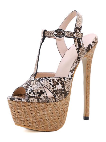 Milanoo Platform High Heel Sandals Womens Snakeskin Peep Toe T-strap Stiletto Heel Sandals