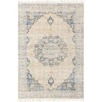 Coventry COV-2304 8' x 10' Rectangle Traditional Rug in Dark Blue  White  Khaki  Aqua