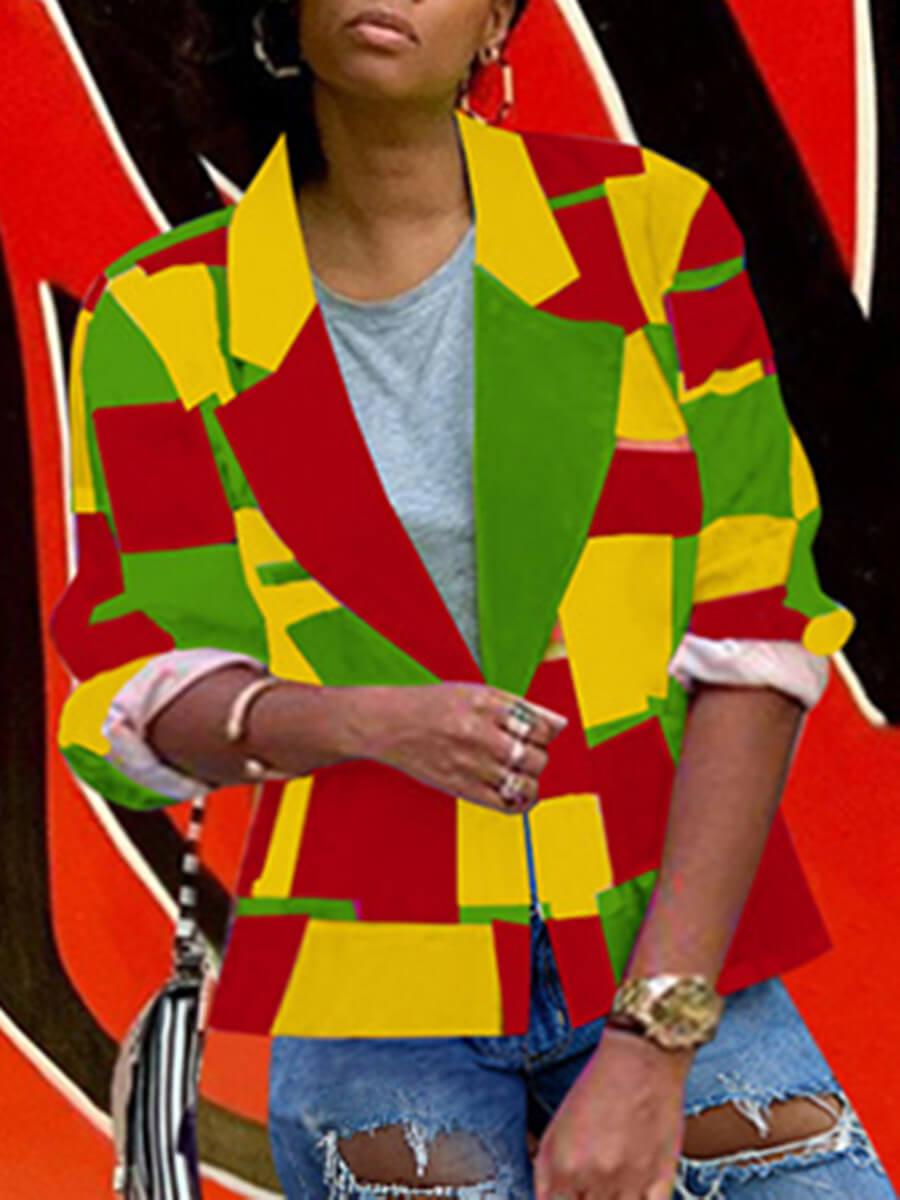 LW Lovely Trendy Turndown Collar Print Multicolor Blazer