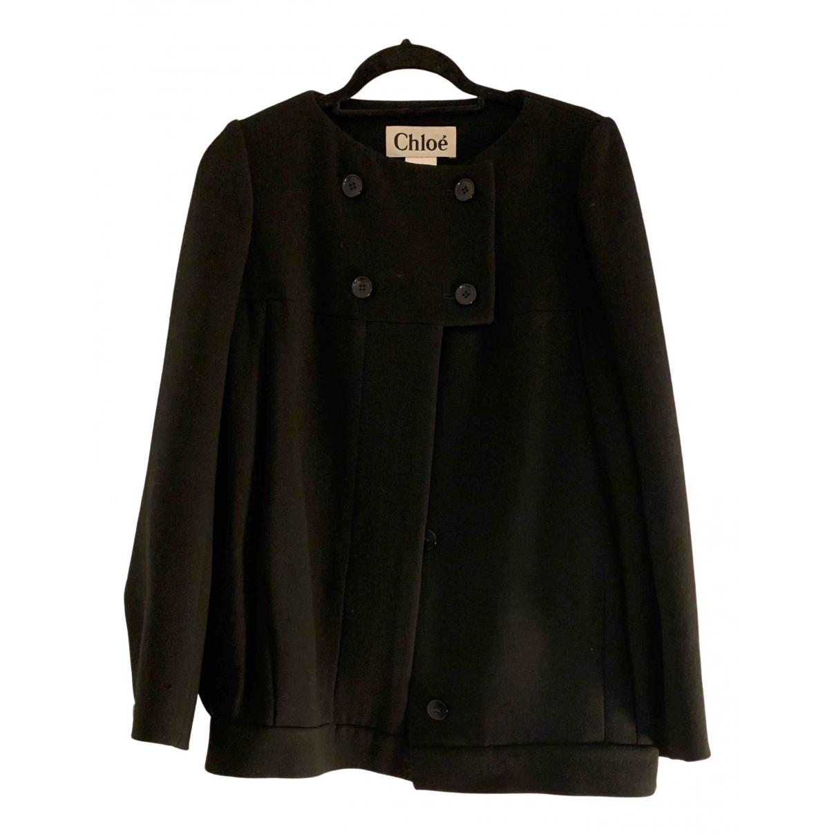 Chloé N Black Wool coat for Women 36 FR