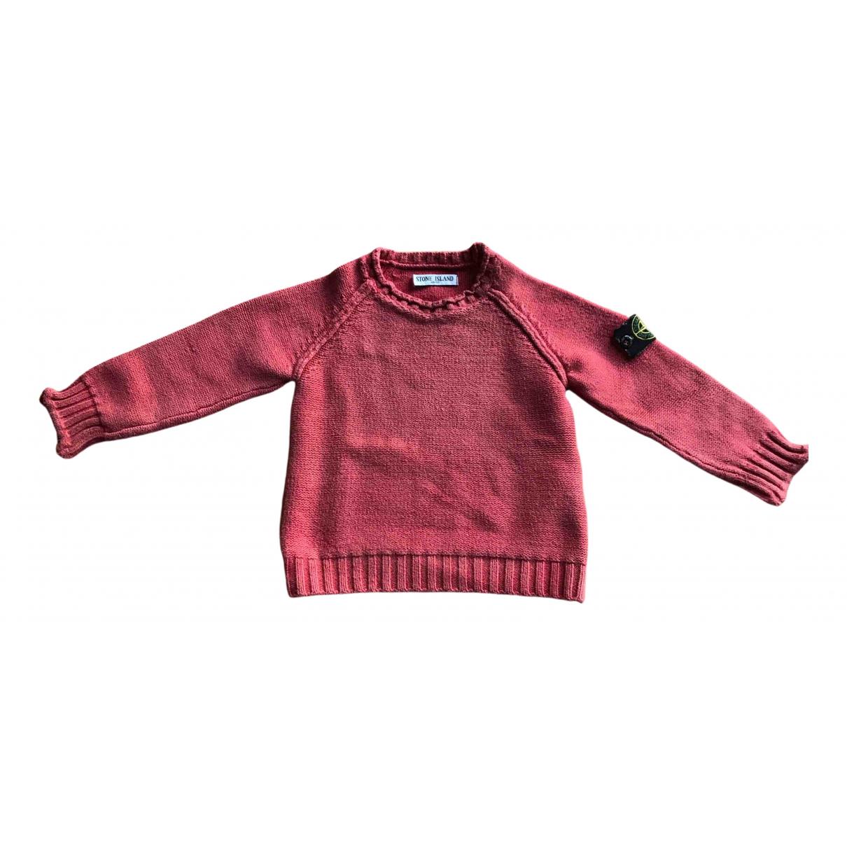 Stone Island - Pull   pour enfant en coton - rouge