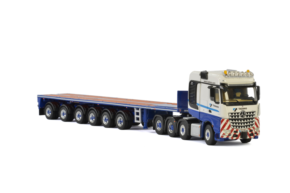 Mercedes Benz Arocs 4163 Big Space SLT Truck 8x4 Tadano with Goldholer 6 Axle Ballast Trailer WSI Premium Line White and Blue 1/50 Diecast Mode
