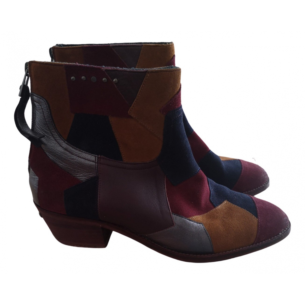 Zadig & Voltaire Teddy Multicolour Leather Ankle boots for Women 40 EU