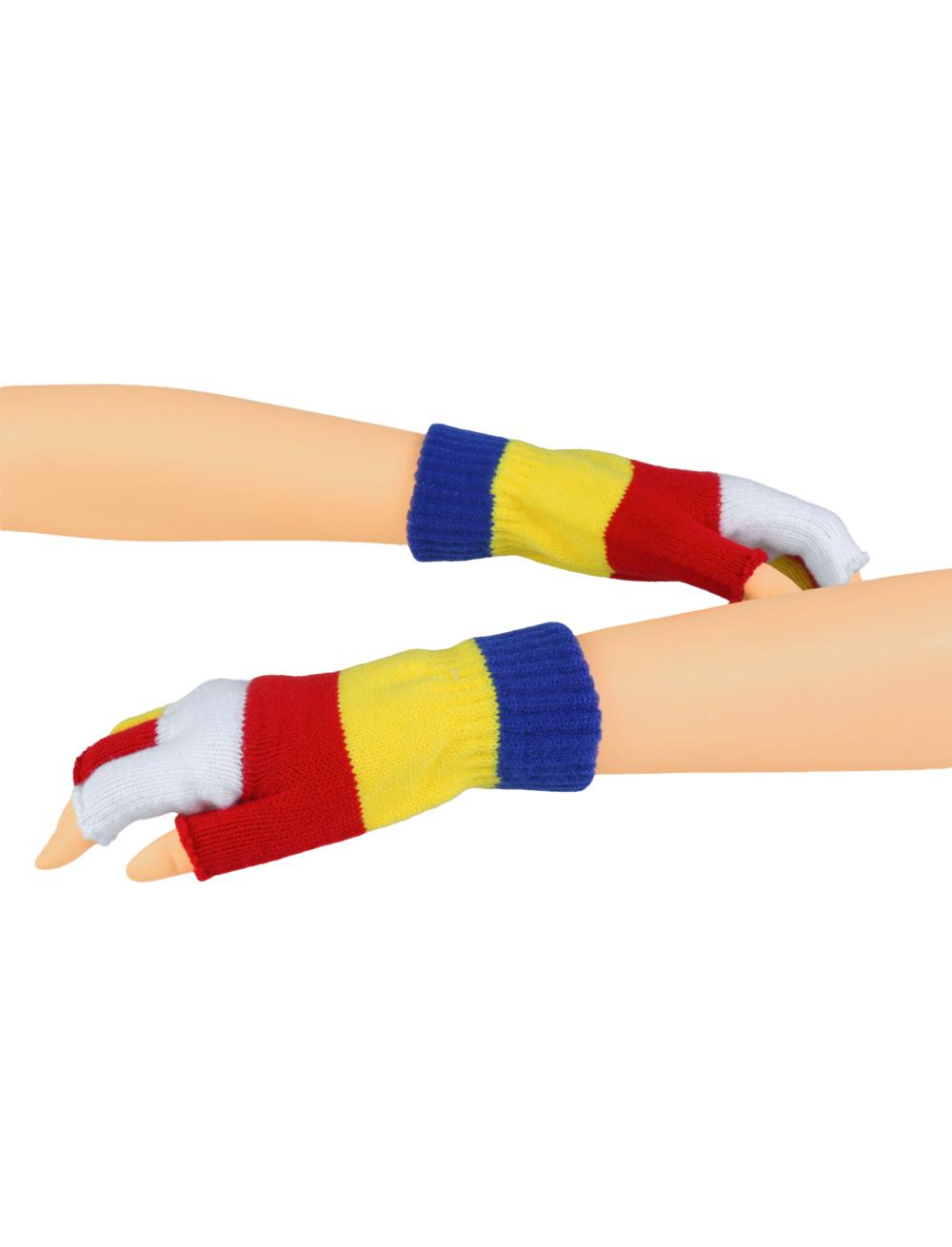 Kostuemzubehor Strickhandschuhe fingerlos rot/weiss/blau/gelb