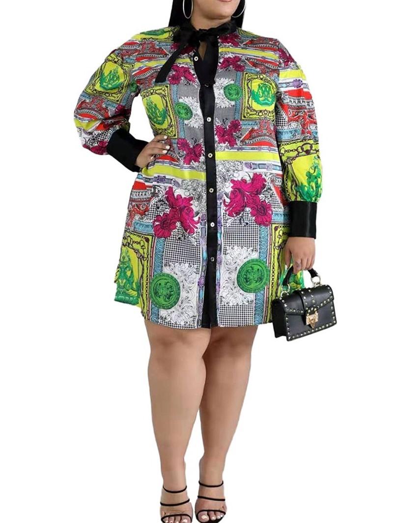 Ericdress Plus Size Knee-Length Bow Collar Long Sleeve Regular Single-Breasted Dress