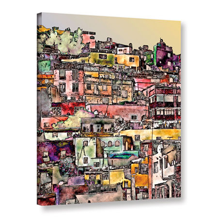 Brushstone Mexican Hilltown Gallery Wrapped CanvasWall Art, One Size , Orange