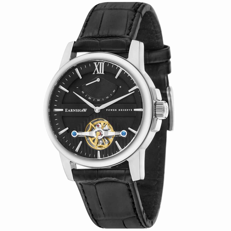 Thomas Earnshaw Mens Flinders ES-8080-SETA-01 Black Leather Hand Wind Fashion Watch