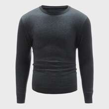 Einfarbiger Pullover mit rundem Kragen