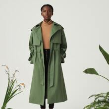 Cotton Single Breasted Drawstring Detail Trench Coat