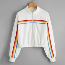 Jacke mit Regenbogen Streifen und
