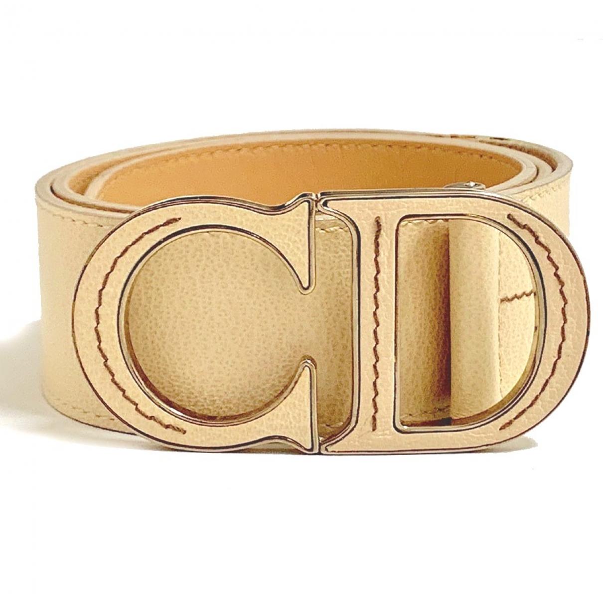 Dior \N Beige Leather belt for Women 75 cm