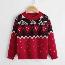 Toddler Boys Chevron Pattern Raglan Sleeve Sweater
