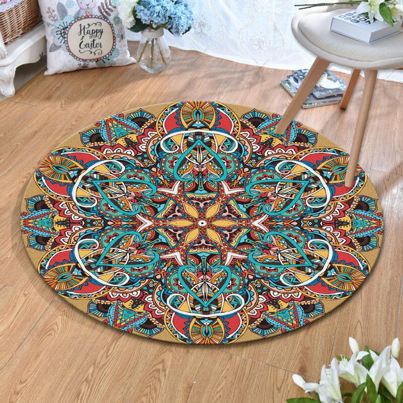 Vintage Turkish Bohemian Mandala Round Thin Flat Carpet Rug Home Bedroom Washable Carpets Art Decor