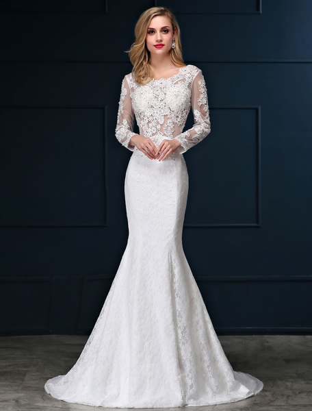 Milanoo Mermaid Wedding Dresses Lace Beach Bridal Dress Long Sleeve Ivory Open Back Beaded Illusion Wedding Gown With Train