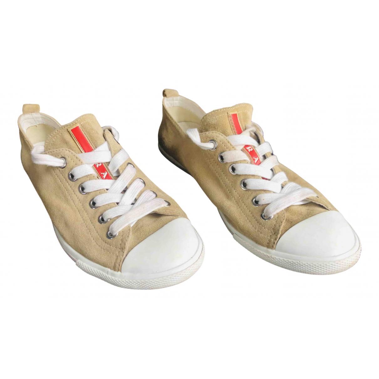Prada \N Sneakers in  Beige Leinen