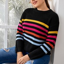 Plus Rainbow Striped Drop Shoulder Sweater