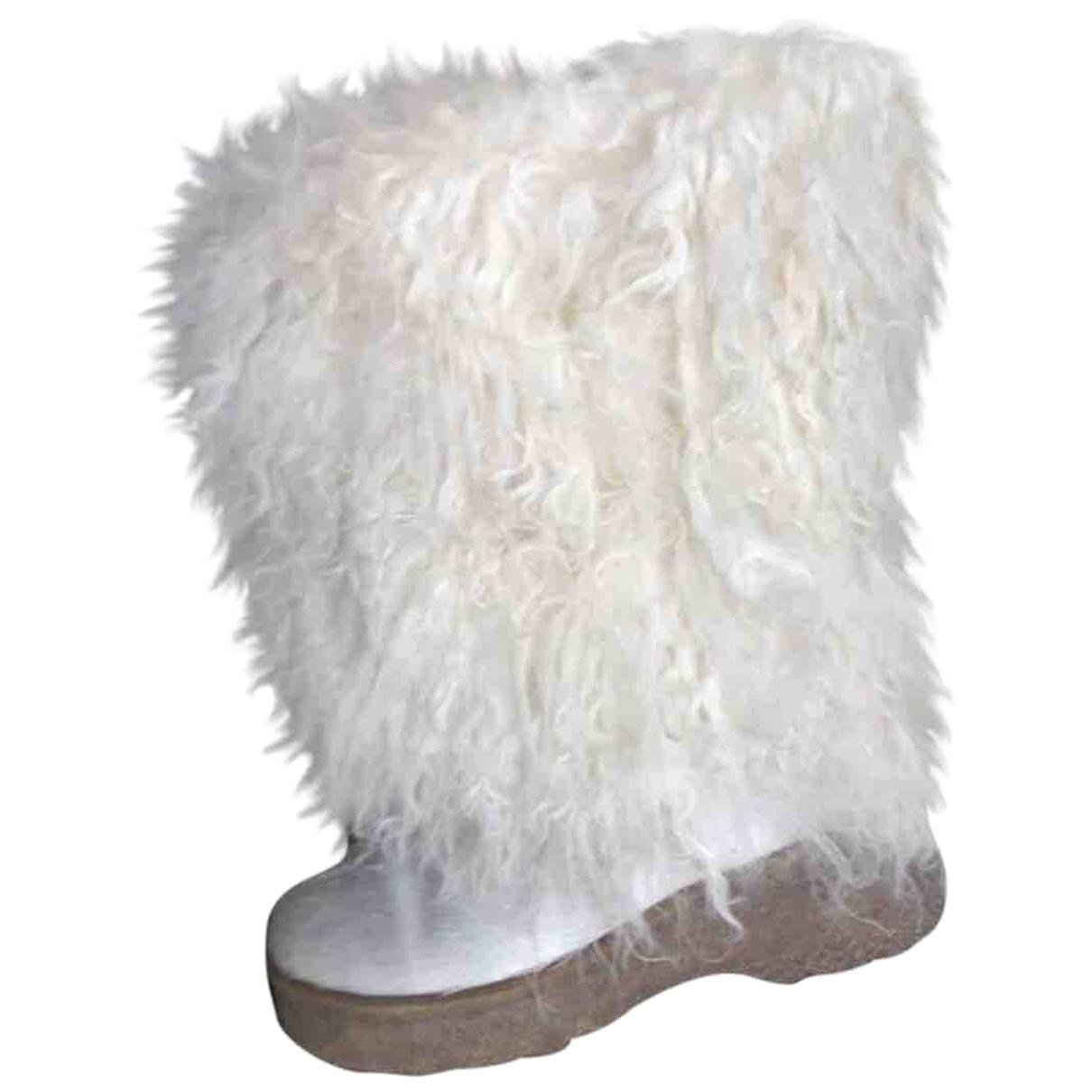 - Bottes   pour femme en mouton - blanc