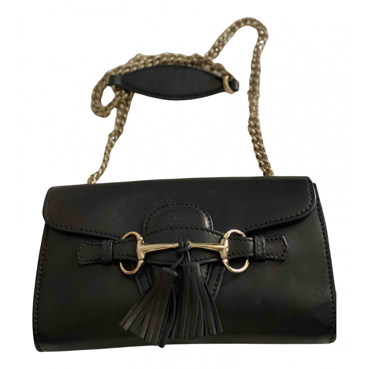 Gucci Emily Clutch in  Schwarz Leder