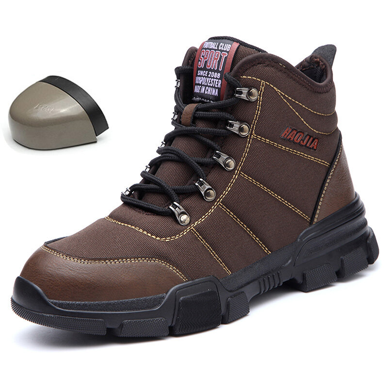 Men Fabric Steel Toe Non Slip Outdoor Casual Safety Boots