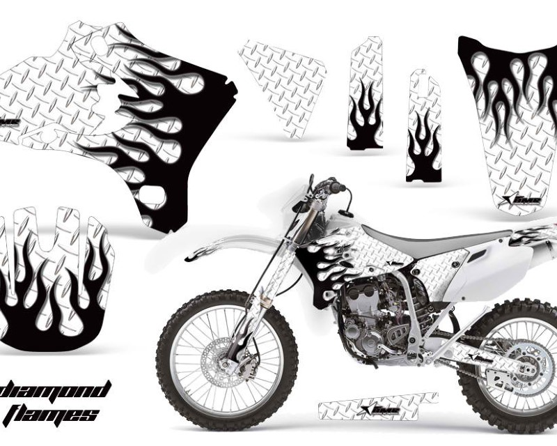 AMR Racing Dirt Bike Graphics Kit Decal Wrap For Yamaha WR250 WR450F 2005-2006áDIAMOND FLAMES BLACK WHITE