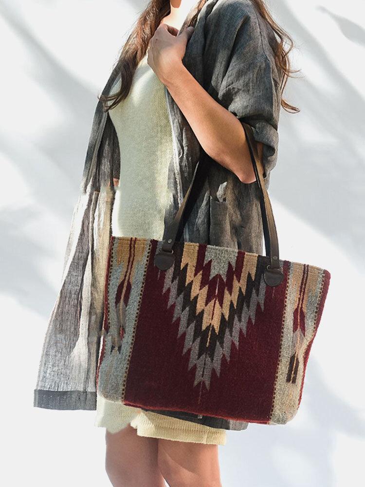 Women Felt Geometric Patchwork Print Ethnic Handbag Tote