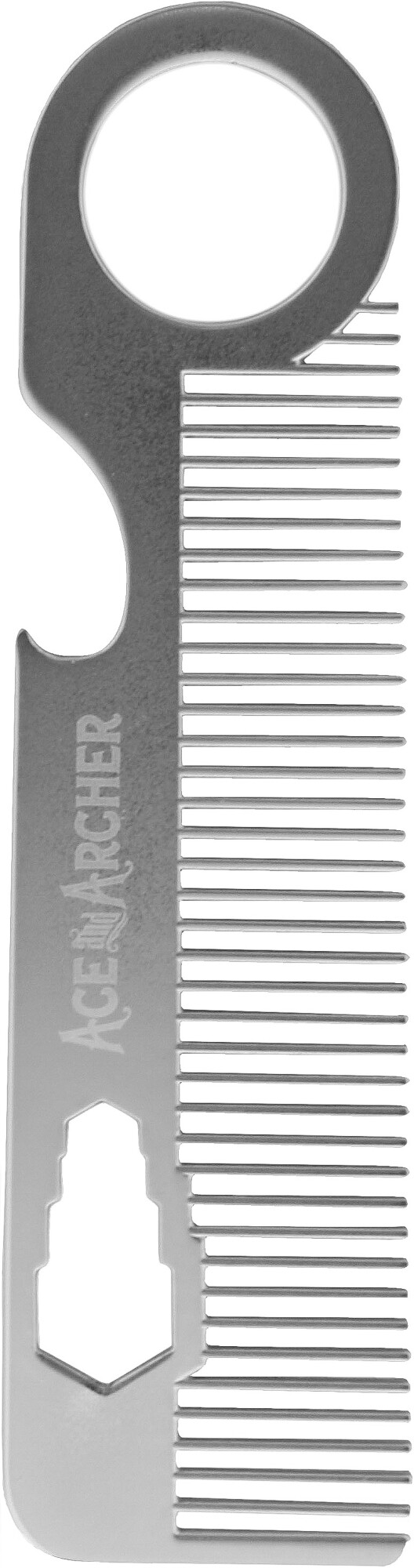 Beard Comb with Bottle Opener. All Metal, Classic Style Grooming Tool - Silver