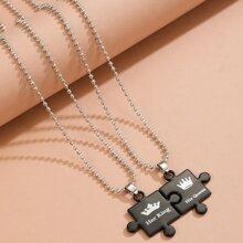 2 Stuecke Halskette mit Geo Dekor