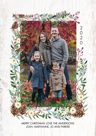 Christmas Photo Cards 5x7 Cards, Standard Cardstock 85lb, Card & Stationery -2020 Christmas Foliage Borders by Tumbalina