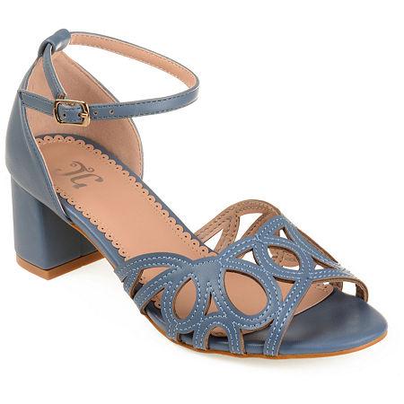 Journee Collection Womens Ashby Buckle Open Toe Block Heel Pumps, 10 Medium, Blue