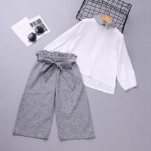 Toddler Girls Contrast Collar Blouse With Paperbag Pants