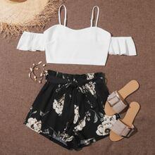 Top mit sehr tief angesetzter Schulterpartie & Shorts mit Papiertasche Taille, Guertel und Blumen Muster