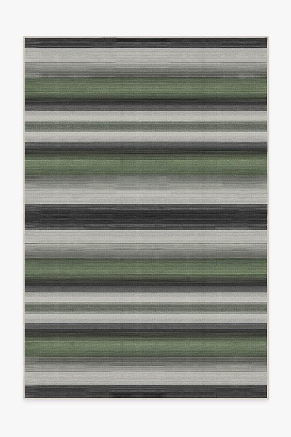Washable Rug Cover & Pad   Outdoor Serape Stripe Green Rug   Stain-Resistant   Ruggable   6'x9'