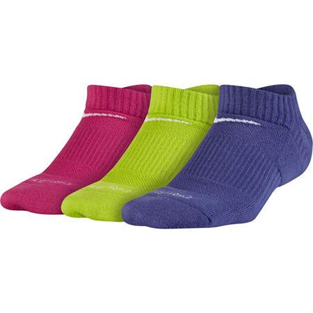 Nike Big Girls 3 Pair Low Cut Socks, Small , Multiple Colors