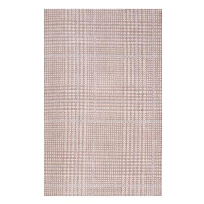 Kaja Collection R-1024B-810 Abstract Plaid 8x10 Area Rug in Ivory  Cameo Rose and Light Blue