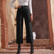 Hose mit hoher Taille und geradem Beinschnitt