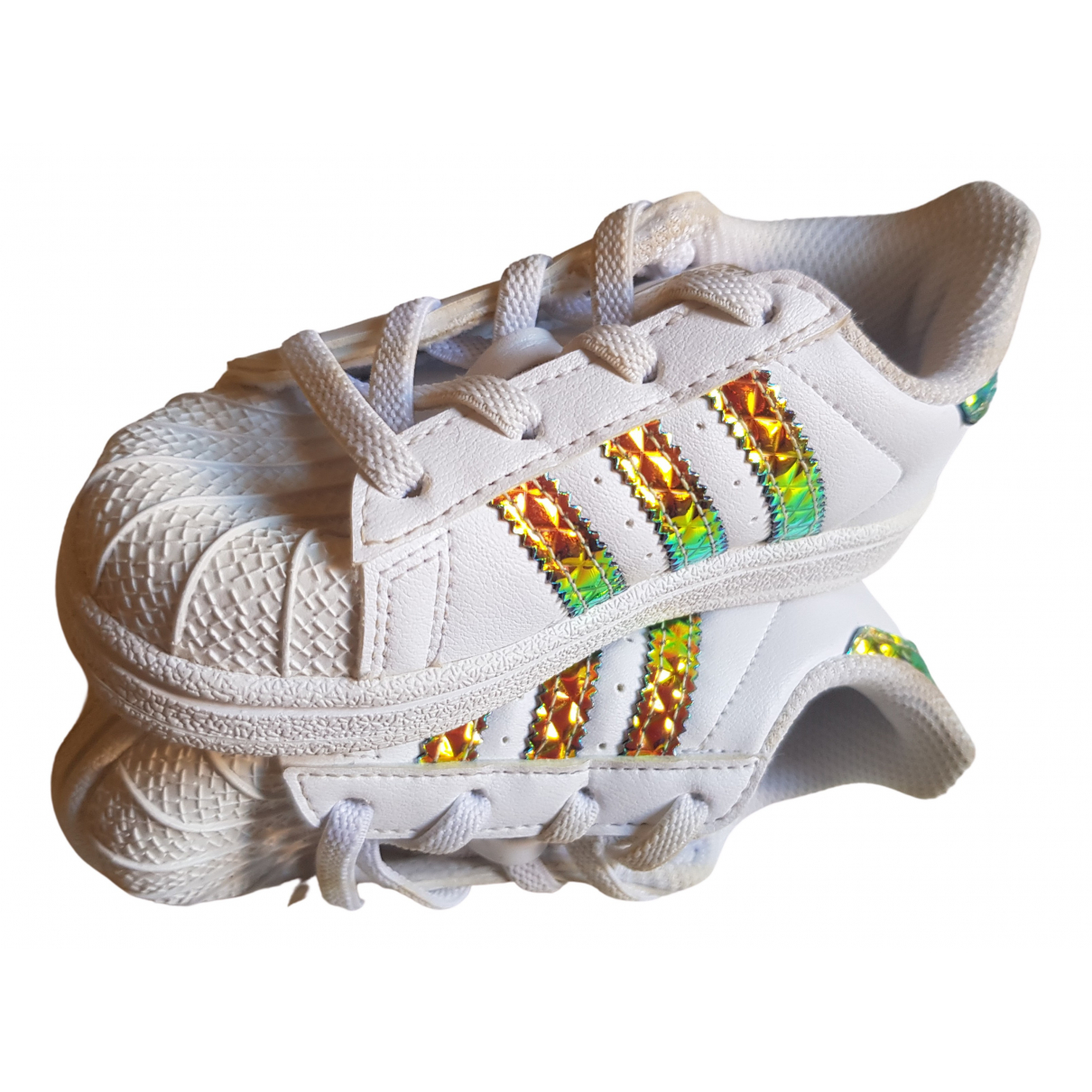Adidas Superstar White Leather Trainers for Kids 23 FR