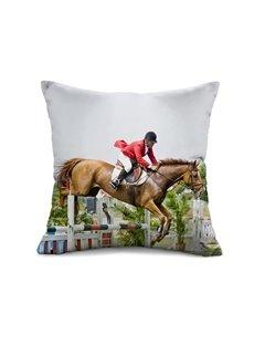 Unique Design Horse Racing Print Throw Pillow Case