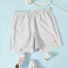 Shorts de rayas con parche de cintura con cordon