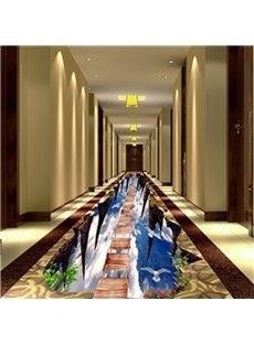 3D Wooden Suspension Bridge in Sky Pattern Waterproof Nonslip Self-Adhesive Floor Art Murals