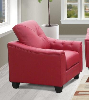 Walden Collection Chair with Bonded Leather Upholstery  Tufting Details  Piped Stitching  Wedge Arms and Tapered Legs in
