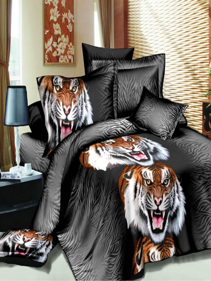 Vivilinen Fashion Roaring Tiger Print 3D 4 Piece Polyester Bedding Sets