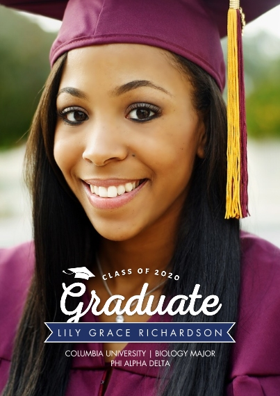 Graduation Announcements 5x7 Cards, Premium Cardstock 120lb with Rounded Corners, Card & Stationery -2020 Banner Graduate by Tumbalina