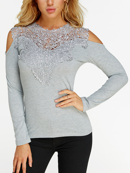 Yoins Grey Lace Insert Cold Shoulder Long Sleeves Causal T-shirt